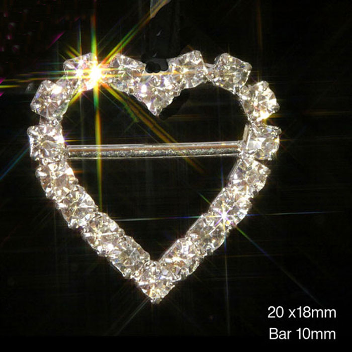 Heart (HORIZONTAL BAR) Diamante Rhinestone Ribbon Slider Buckles