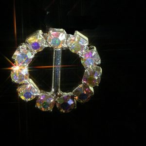 AB Rainbow Effect Small Round Rhinestone Crystal Diamante Buckle