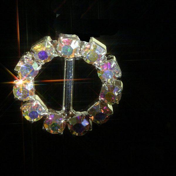 AB Rainbow Effect Small Round Rhinestone Crystal Diamante Buckle