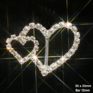 Large & Small Heart Rhinestone Ribbon Slider Buckles 32mmx25mm
