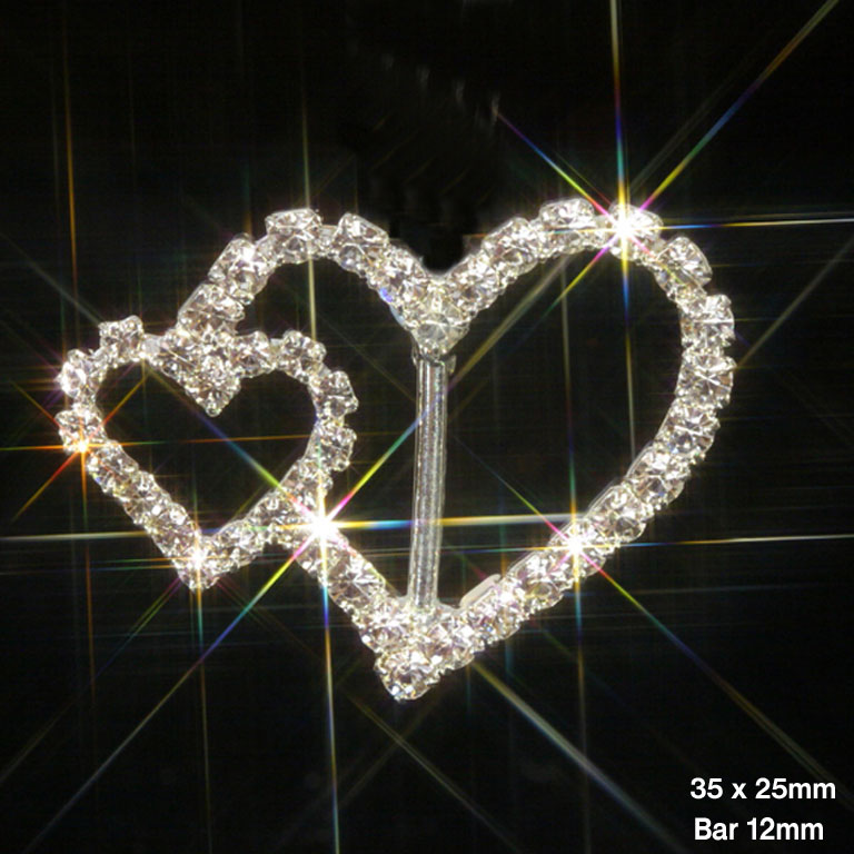 Large & Small Heart Rhinestone Ribbon Slider Buckles 32mmx25mm