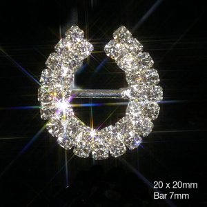 Lucky Horseshoe Rhinestone Crystal Diamante Ribbon Slider Buckle