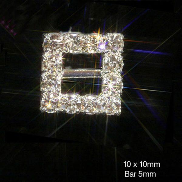 Mini Square Silver Diamante Ribbon Slider Buckle 1.3cm x 1.3cm
