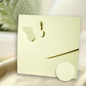 10 Ivory Textured Butterfly Wedding Pocketfold Invitations.
