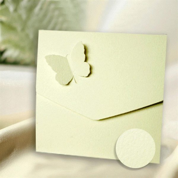 10 Ivory Textured Butterfly Wedding Pocketfold Invitations.
