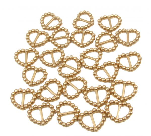 Gold Pearl Heart Shaped Ribbon Slider Buckles