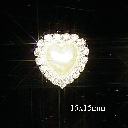 Mini Diamante and Pearl Heart Embellishments Grade A Rhinestones
