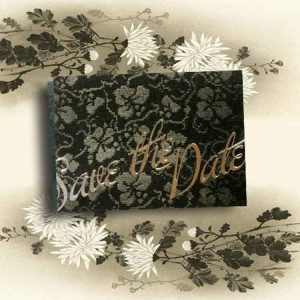 Black Broderie Wedding Save the Date Cards