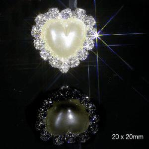 10 Diamante and Pearl Heart Embellishments Grade A Rhinestones