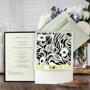 10 chloe laser cut invitations with inserts (Black Design)