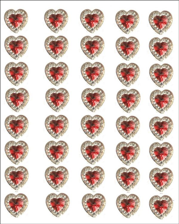40 ROMA self adhesive acrylic Red hearts embossed mini crystals 12×10 mm