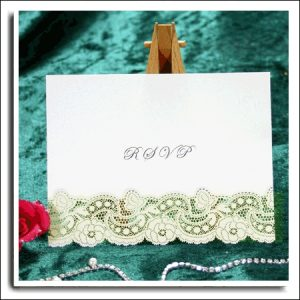 20 3D & Ivory Dream Ivory Shimmer Laser Cut RSVP Wedding Cards