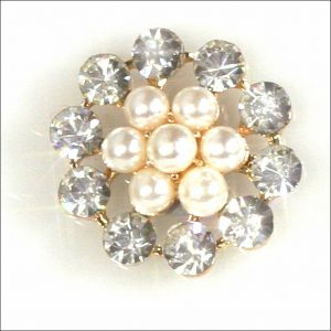 10 Rose Gold Round Diamante and Pearl Clusters 23mm