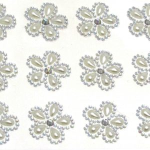 Orvieto Pearl and Diamante Self Adhesive Flowers 12 Per Sheet