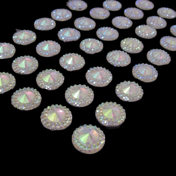 Positano Self Adhesive AB Clear Round Crystals Flat Backed 12mm Multi Faceted