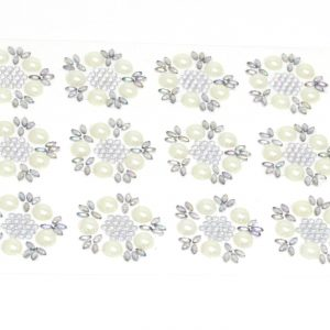 Milano Pearl and Diamante AB Self Adhesive Flowers 12 Per Sheet