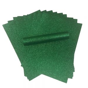 Green Glitter A4 Card Soft Touch Non Shed 250gsm Pack of 10 Sheets