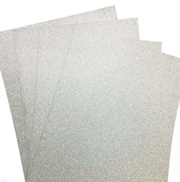 10 A4 Glitter Card Silver Illusion 100% Non Shed 250gsm