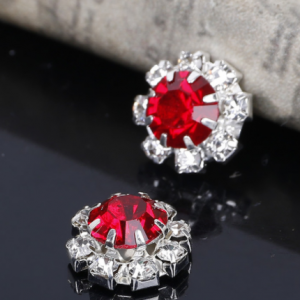 10 Small Round Red & Diamante Embellishments Large Red Centre stone Rhinestone 12mm