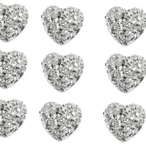 40 Heart Shaped Silver Gems 12mm Flat Back Quality Resin Embellishments