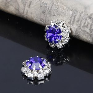 10 Small Round Diamante Embellishments With Large Blue center stone Rhinestone 12mm