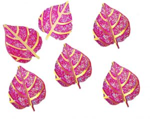 Pink and Gold Glitter Leaf Resin Embellishments