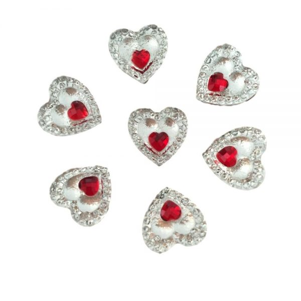 40 Heart Gems 12mm Clear With Mini Red Heart Centre Quality Resin Embellishments