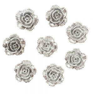 Silver Pearl Flower Resin Embellishments