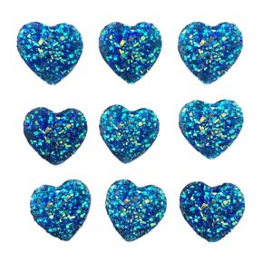 20 Heart Gems 14mm Dark Blue AB Flat Back Quality Resin Embellishments