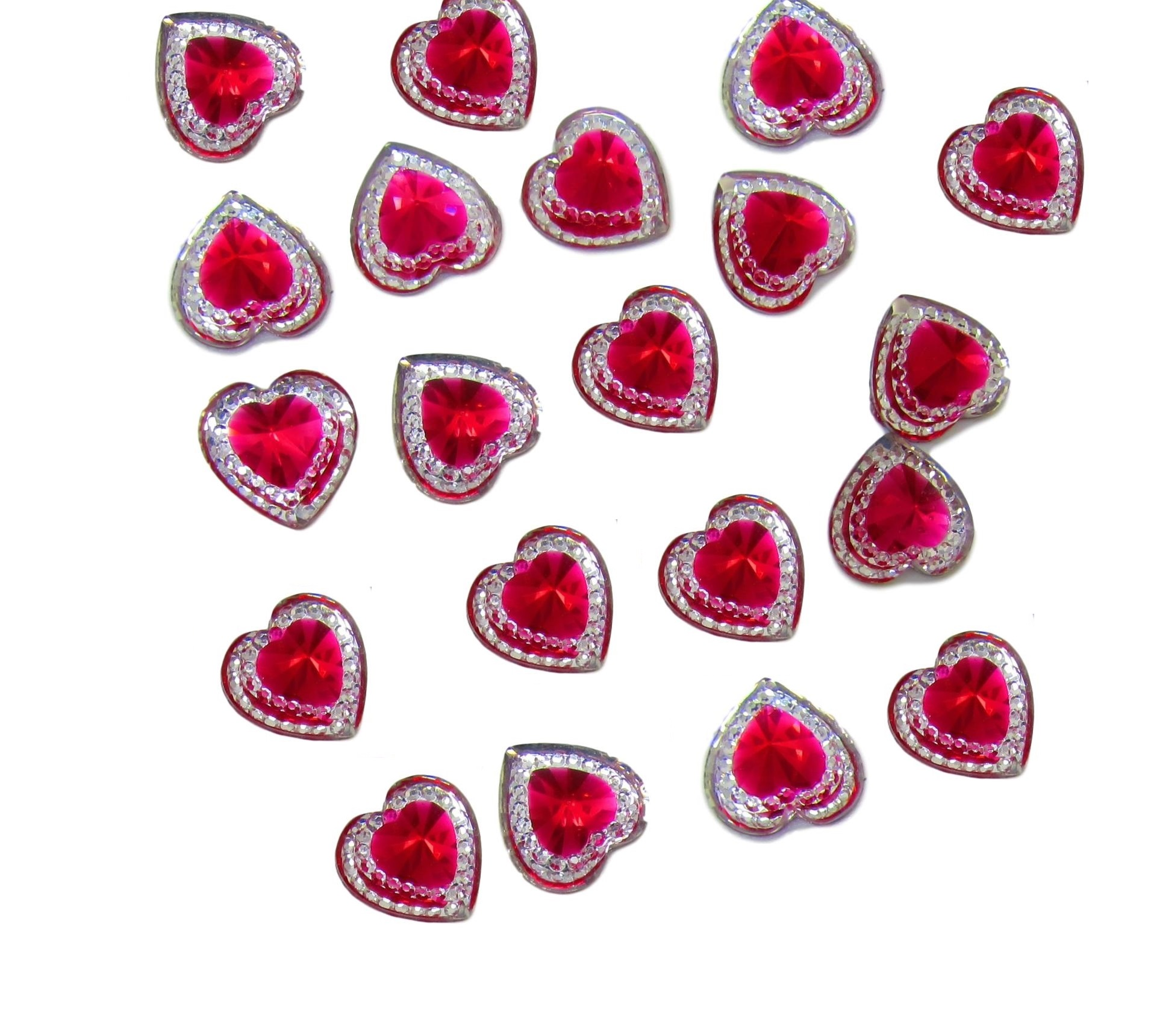 Acrylic /'Mini Hearts/' Embellishments PACK OF 10