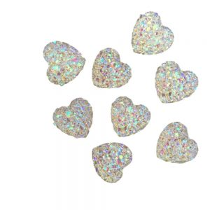 40 Heart Gems 12mm AB Flat Back Quality Resin Embellishments