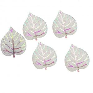 Rainbow Sparkle leaf resin embellishments