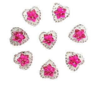 Clear Heart With Pink Flower Center Resin Embellishments
