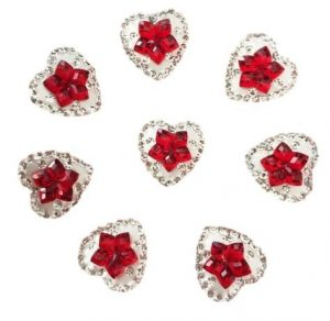 Clear Heart With Red Star Center Resin Embellishments