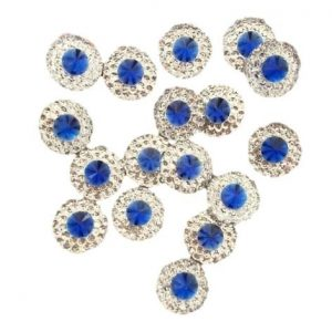 Round Royal Blue Resin Embellishments