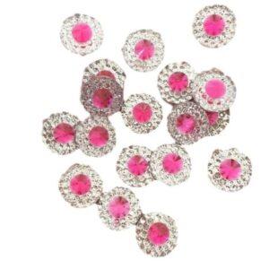 Round Fuchsia Pink Resin Embellishments