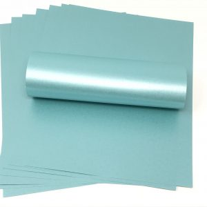 10 Sheets of Sea Blue Pearlised Paper 100gsm