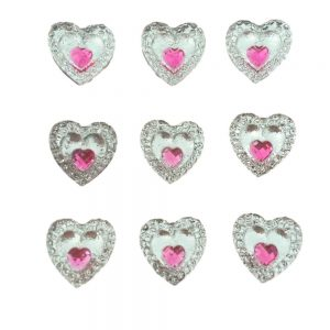 Pink Heart Gem Resin Embellishments