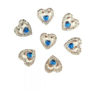Blue Heart Gem Resin Embellishments