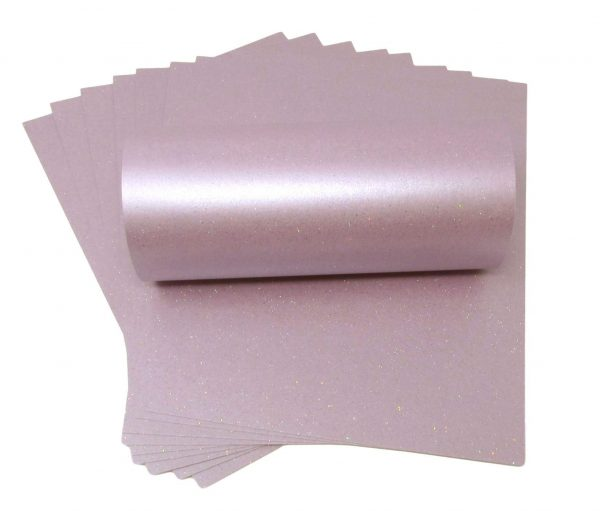 10 sheets of Tea Rose Sparkle Card 300gsm