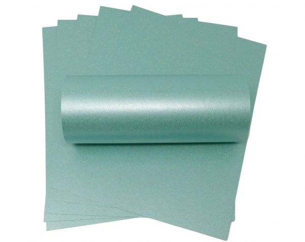 10 Sheets of A4 Sea Blue Sparkle Card 300gsm
