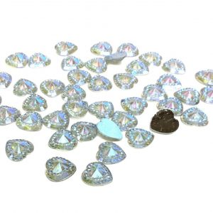 50 Taormina Loose AB Clear Acrylic Hearts Embossed Mini Crystals 12x10 mm
