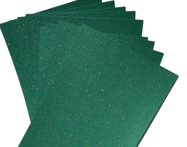 10 Sheets of A4 CHRISTMAS GREEN Sparkle Card 300gsm