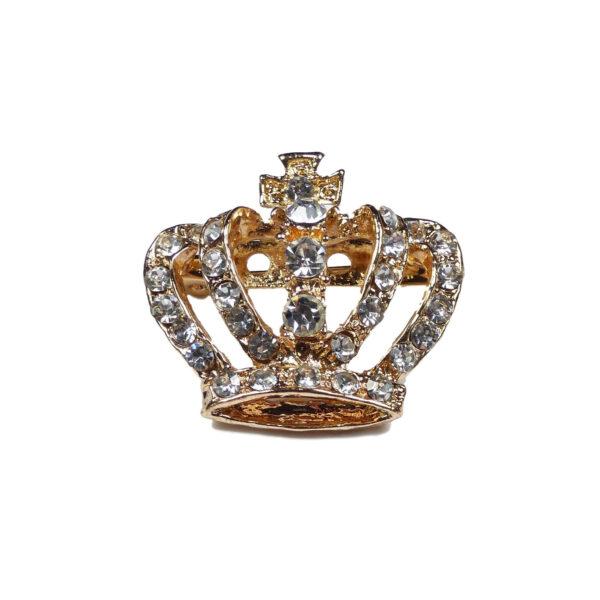 Gold Crown Brooch Pin Grade A Diamante Crystal Rhinestones