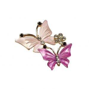 Pink Butterfly Brooch Pin 2 Butterflies & Rhinestone Crystal Flower