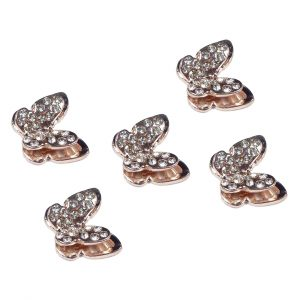 5 Rose Gold Butterfly Decorative Flatback Diamante Embellishments