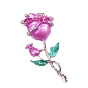 Pink Diamante Rose Brooch Pin Rose Gold Colour with Rhinestones