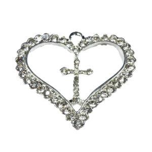 2pcs Large Heart Pendants with Center Cross Silver Colour Rhinestone Diamante Embellishment