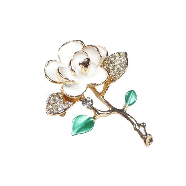 White Enamel Flower Brooch Pin Gold & Diamante Rhinestones