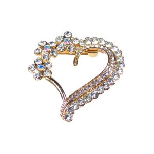 Gold Heart Brooch Pin with Small Flowers Grade A Diamante Rhinestones